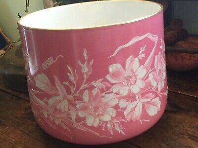 Antique French Porcelain Cache Pot Planter Hand Painted Pink with White Flowers