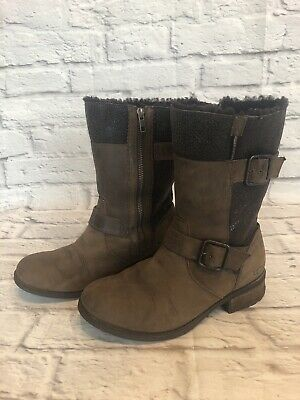 UGG Womens Sz 8 / 39 Brown Leather Shearling Lined Moto Boots Kensington i1q
