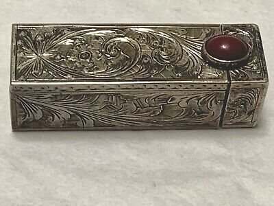Vintage 800 Silver Engraved Lipstick Compact with Mirror & Cabochon Carnelian
