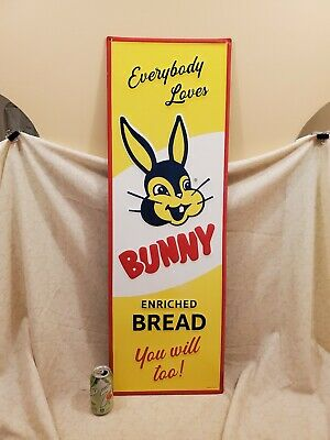 EXCELLENT BUNNY BREAD EMBOSSED METAL ADVERTISING SIGN 42 x 14