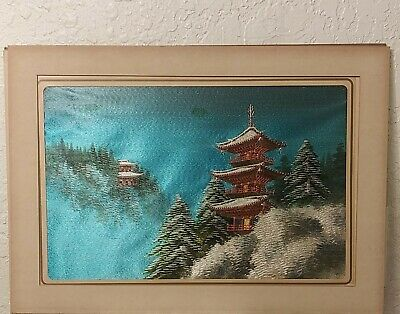 Antique Japanese  Hand Embroidered Silk Japanese Scenery