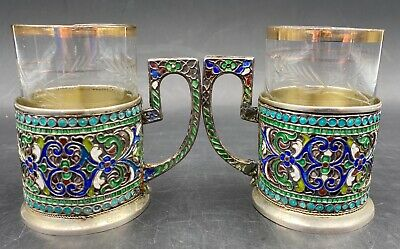 Elegant Antique Russian Style Silver Gilt & Cloisonné Enamel Tea Cup Pair #2