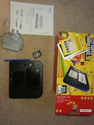 nintendo 2ds console blue and black with box and charger, very good condition.