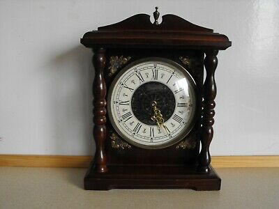 Vintage Wooden Mantle Clock German Splendex, Working, apprx 8.5 inches high