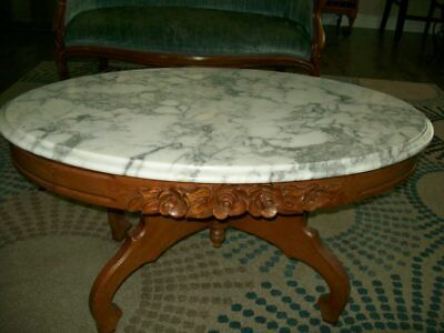 Victorian Solid Mahogany Marble Top Coffee Table