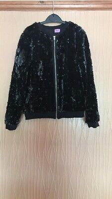 Girls Age 9-10 Years F&F Black Sequin Jacket