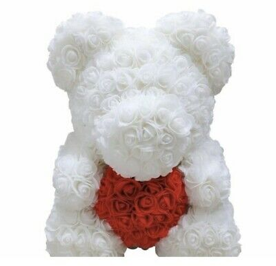 Enchanted Forever Holiday White Rose Teddy Bear The Perfect Gift 16in/40c️m️ NEW