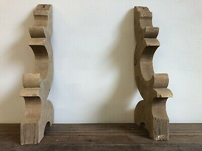 Two Antique Matching Detailed Wood House Bracket Corbels Salvaged