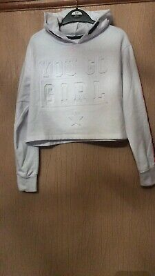 Girls Age 10-11 Years Young Dimension White Cropped Hoodie Hooded Jumper