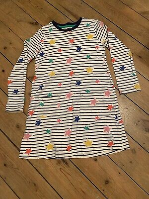 Mini Boden Blue And White With Stars Girls Dress - Age 9/10