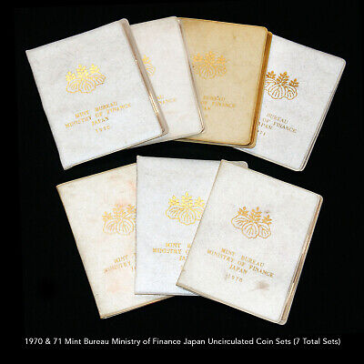 1970 & 71 Mint Bureau Ministry Of Finance Japan Uncirculated Coin Sets (7 Sets)