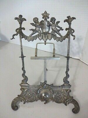 Antique Victorian Ornate Angel Cherub Metal Easel/Picture/Plate Display Stand#2