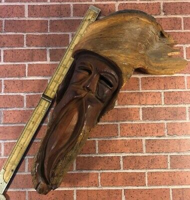 Wood Folk Art 10 Inch Hand Carved Mountain Man Face Wall Hanging Vintage Unique