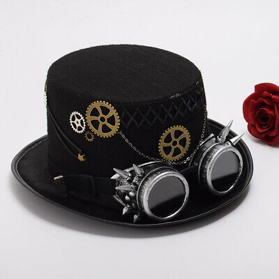 Steampunk Top Hat with Goggles Halloween Cosplay Top Hat For Women Men