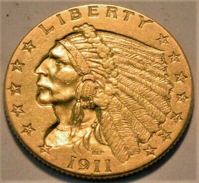 1911 $2.50 Gold Indian Quarter Eagle, Higher Grade, Sharp Looking 2 and 1/2 Coin