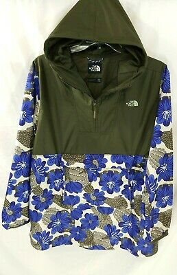 North Face Olive Green Cactus Floral Pullover Anorak Windbreaker  Womens 2XL