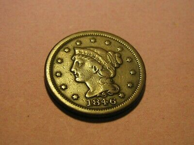 1846 Braided Hair Large Cent up for Auction (Nice Features) You Decide!