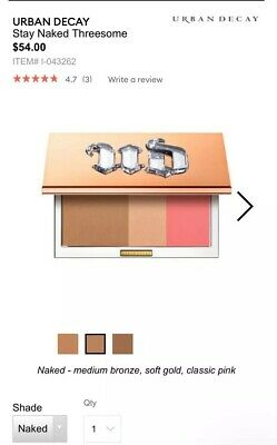Urban Decay Stay Naked Threesome Bronzer Highlight And Blush. Brand New w box.