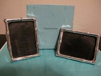 Tiffany&Co Makers Pair Of Sterling Silver Bamboo Pattern Picture Frames