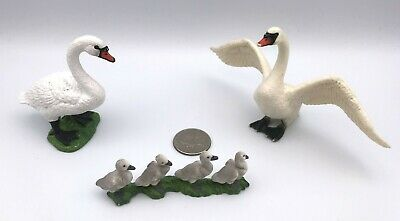 Schleich WHITE MUTE SWAN FAMILY Male, Female Cygnets Babies Lot 3 Bird Figures
