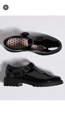 Girls Marks Spencer M&S Black Leather Patent T Bar Buckle School Shoes Uk 4.5