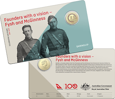 2020 RAM $1 One Dollar Qantas Founders with a vision - Carded Coin D5-2058