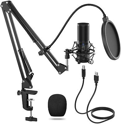USB Microphone Kit Q9 Condenser Computer Cardioid Mic for Podcast, Game, YouTube