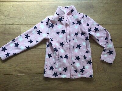 Mothercare Girls Pink Zip Through Fleece With Stars Age 9-10 Yrs