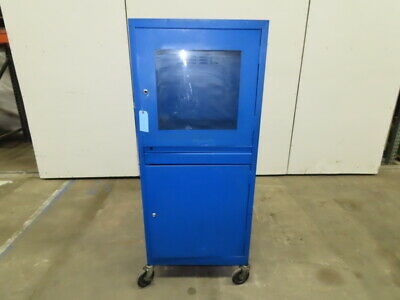 Harsh Environment Rolling Mobile Steel Security Computer Cabinet 24x26x63""
