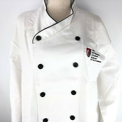 Chef Works White Coat XL International Culinary School Embroidered Black Trim
