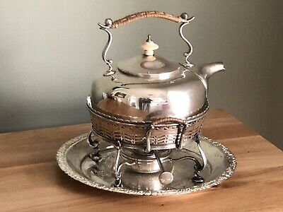 Lovely Silver Plated Spirit Kettle, Stand And Burner