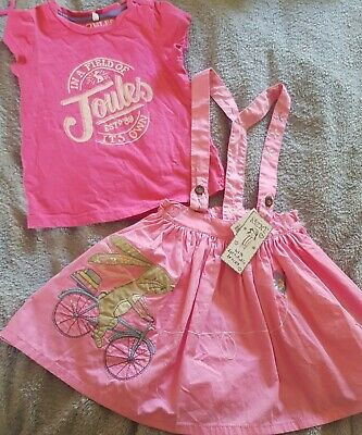 BNWT 💜 Bunny On Bike Braces Skirt & Pink Used Top NEXT 💜Joules Age 3-4 Years