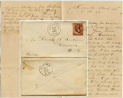 USA 1887 CONGRESS EMBOSSED NOTEPAPER LETTER SEABROOK to HANOVER NEW HAMPSHIRE