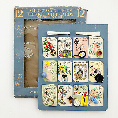 Vintage Gift Cards with Plastic Charms Trinkets Original Package 1950s Set of 12