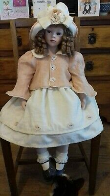 28 inch Rare Large Porcelain Doll Leonardo Collection in need of TLC sitting