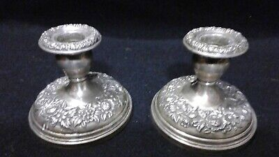 Repousse Sterling Candlesticks Weighted S. Kirk & Son