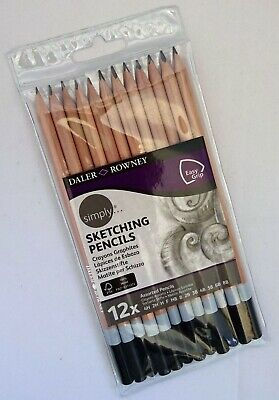 Daler Rowney Sketching Pencil Set of 12 Grades 4H-2H-H-F-HB-B-2B-3B-4B-5B-6B-8B