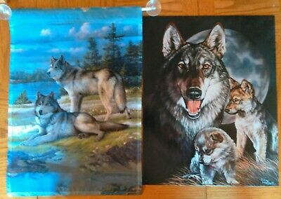 Wolves Momma & Puppies Tin Metal Sign New Graham AND Wolves Flag