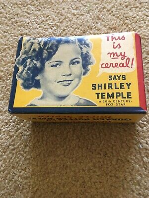 Shirley Temple Quaker Puffed Wheat Cereal Box 1937