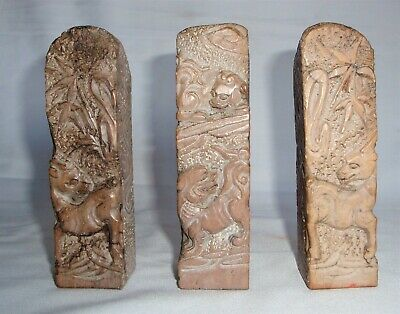 Rare set of Three (3) Carved Stone Chinese Seals, Chops, Stamps