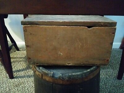 Early 19th Century Salmon Painted Wooden Document Box W/ Snipe Hinges