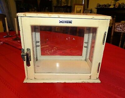 """Vintage Wood & Glass Sided """"Fisher Scientific"""" Laboratory Cabinet"""