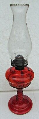 Amberina Glass Daisy & Button Pattern No 1 Oil Lamp with Chimney