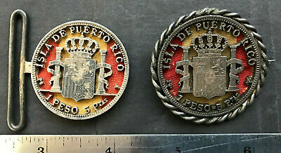 Puerto Rico 1899 Peso Provincial Silver Coin Jewelry Exonumia Spain Colors Flag