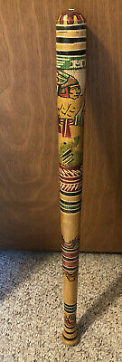 "Vintage Mexico Mexican Wooden Baseball Bat Pinata Stick 30"" Aztec Carved Art"