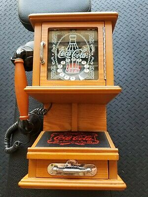 Coca-Cola Nostalgic Wall Phone - Real Wood Push Button Rotary Style USED LIGHTLY