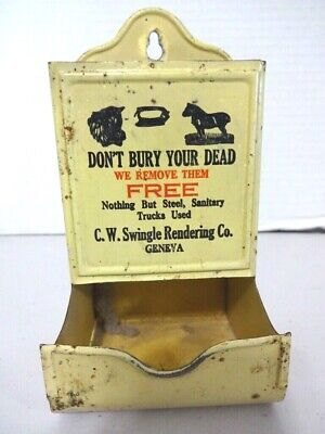 "Antique Match Holder ""Old Dead Animals Removed"" Swingle Rendering Co-1937"