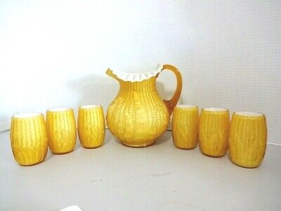 Antique Corn on the Cob Cased Glass Pitcher and 6 Glasses -EX!