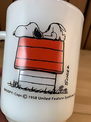 "Vintage 1958 Fire King Snoopy ""I think I'm allergic to morning"" Coffee Cup Mug"