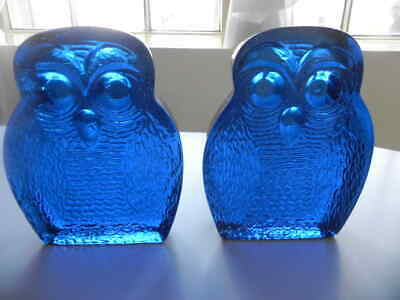 VERY HEAVY Thick Blue Glass Pair OWL BOOKENDS Almost 10 pounds